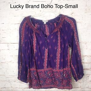 Lucky Brand Boho Purple Floral Print Top-Small